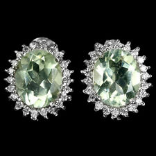 Genuine Green Amethyst Halo Shimmering Cubic Zirconia Sterling Silver Earrings