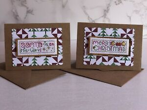 Set Of 2 Mini Completed Cross Stitch Christmas Cards 3x4 Inch (c)