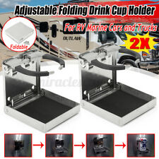 2X Stainless Steel Adjustable Folding Cup Drinking Holder Marine Boat Car Truck