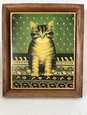 Vtg Tabby Cat Oak Framed Folk Art Ceramic Tile Trivet Kimberly Enterprises Usa