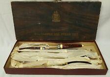 vtg federal cutlery delcoronado 10 pc stag handle steak knifes carving set japan
