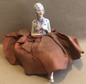 Art Deco Period Porcelain Lady Pin Cushion Half Doll With Legs c1920's