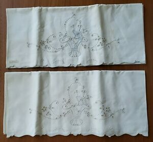 Vintage Pair Of Madeira Embroidered Linen Pillow Cases Basket Flowers Light Blue