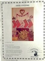 Amish Christmas Stockings Pattern 5 Designs 20 inches New Vintage 1985