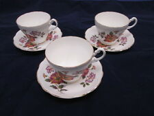 Royal Ascot Bone China Teacups and Saucers Set of 3 Rust & Blue Floral Design