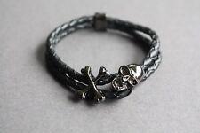 NEW Leather Braided Skull Metal Surfer Bracelet Wristband Vintage Black Cuff 7.5