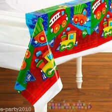 CONSTRUCTION PALS PLASTIC TABLECOVER ~ Birthday PARTY Supplies Fire Engine