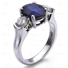 Estate Platinum Oval Blue Sapphire Diamond Ring
