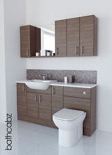 GREY BROWN BATHROOM FITTED FURNITURE 1600MM WITH WALL UNITS / MIRROR