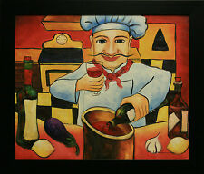French Italian Chef Cook Red Wine Lemon Sauce Kitchen Decor FRAMED OIL PAINTING