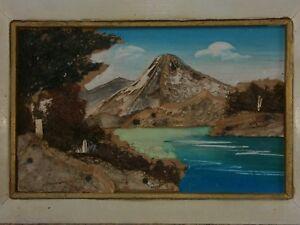 Japanese Tree Bark Moss Art Mountain Mt. Mount Fuji Landscape Oil Painting Frame