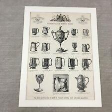 1880 Antique Print Silver Trophy Tankards Pots Original Victorian Advertising