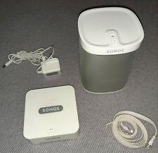 Sonos Play:1 Smart Wireless Speaker with Wireless Bridge - White Excellent Con.