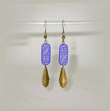 ~ VTG ART DECO Periwinkle BLUE GLASS~HIEROGLYPHS~ STEPPED DANGLES EARRINGS!~~