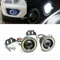 "2Pcs 2.5"" 30W 12V Car LED COB Fog Light Lamp Projector Lens Bulb DRL Angel Eyes"