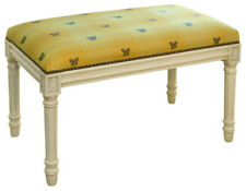 NEW STUNNING BUTTERFLY CARVED WOOD YELLOW UPHOLSTERED NAIL HEAD BENCH