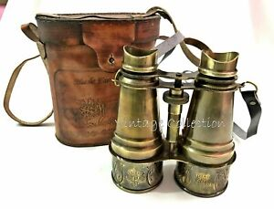 Nautical Antique Brass Binocular Vintage Marine Monocular with Leather Box 6""