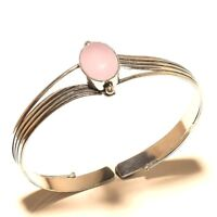 Amazing Silver Plated Rose Quartz Cuff Bracelet Bangel Jewelry