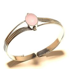 Amazing Silver Plated Rose Quartz Cuff Bracelet Bangel Gemstone Jewelry