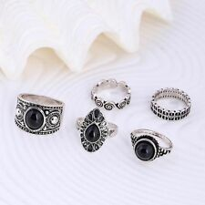 Turquoise Stones Nature Blue Women Jewelry Joint Rings Vintage Retro Silver