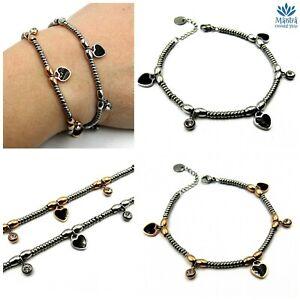 Bracciale donna in acciaio inox sfere perline braccialetto con cuori zirconi da