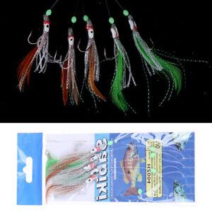 5 en 1 nuit lumineuse leurre de pêche doux hameçon pieuvre plume pêche Bai B1W1F