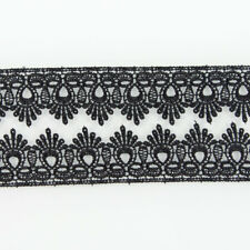 3 Yds Fabric Venise Black Lace Trim Costume Applique Embellishment Sewing Craft