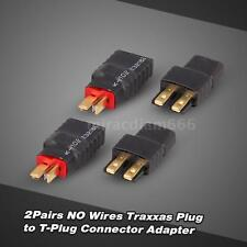 2Pairs NO Wires Traxxas Plug Female to T-Plug Male(Deans) Connector Adapter C1O8