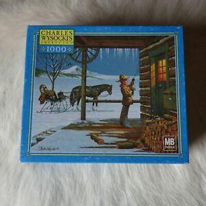 CHARLES WYSOCKI'S AMERICANA 1000 Jigsaw Puzzle Horse Cart Cabin Wilderness Snow