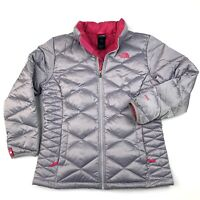 The North Face Down 550 Girls XL-18 or Womens Silver Gray / Pink Puffer Jacket