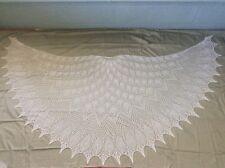 New Handmade Lace Knitting Extra Large White Pearl Beaded Shawl Bridal Wedding