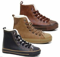 Womens Fur Lined Boots High Top Ankle Trainer Sneaker Plimsole Winter Shoes Size