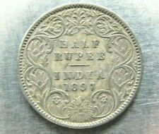 India KM491 Half Rupee 1897 (B incuse) Fine, slightly stained. Scarce.