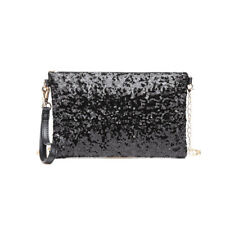 Women Bling Sequins Evening Clutch Purse Hand Bags Cross Body Chain Shoulder Bag Black