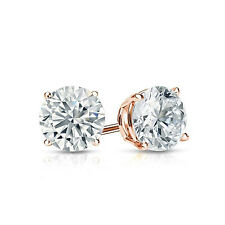3.0 ct Round Cut Solitaire Stud Earrings in Solid 14k Real Rose Gold Screw Back
