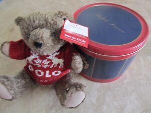NEW Polo Sport Ralph Lauren Bear That Cares in tin, 1998