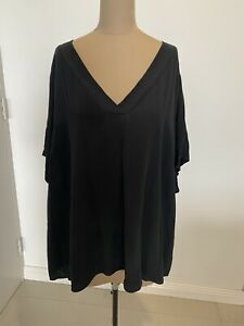 Eileen Fisher Black Silk V-Neck Shirt Size 3X