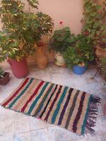 Moroccan authentic boucherouite rug,boucherouite moroccan carpet 4,2 x 2,2 feet