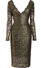 NEXT womens black gold sparkly long sleeve fitted lace dress size 6 party xmas