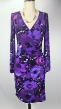 CHAPS Purple floral long sleeve V-neck ruched stretch Career party dress size PS