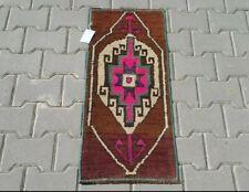 BROWN PINK Turkish Doormat Rug 2x3ft Vintage Oushak Small Handmade bathroom rug