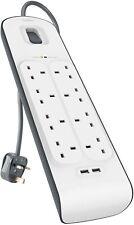 Belkin 8 Way Socket Surge Protector 2.4 Amp USB Charging, 8-Outlet