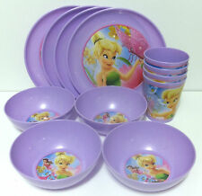 Disney Fairies Tinkerbell 4 Plate Bowl Cup Set Reusable Partyware Party Supplies