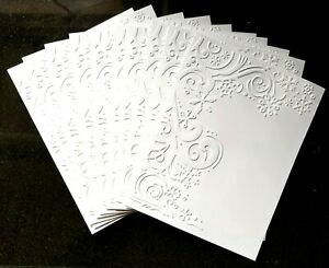 10 FLURRIES White Embossed A2 Card Fronts Recollections Cardstock Paper