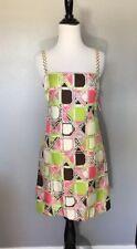 Milly of New York Bamboo Lattice Print Gold Chain Strip Shift Silk Dress NWT Sz2