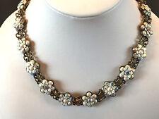 "B Michal NEGRIN Enamel Swarovski Crystal Pearl Flowers Choker Style Necklace 15"""