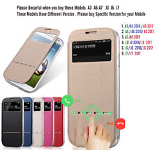 Matte Flip Leather Case Cover View Window Metal Sliding Smart Answer for Mobile
