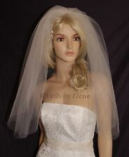 "Wedding Veil Bridal Veil Soft Puffy 2 Tiers 72"" Width 28"" 30"" Length Made in USA"