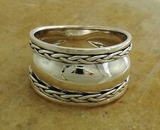 WIDE .925 STERLING SILVER BALI STYLE CIGAR BAND RING size 11  style# r2094