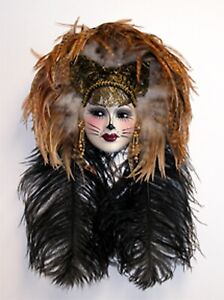Unique Creations Lady Kitty Cat Face Mask Wall Hanging Decor - NEW IN BOX